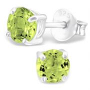 4mm Peridot & Sterling Silver Stud Earrings